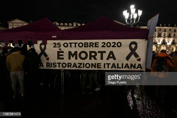 Protesters gather during an anti government demonstration on October 26 2020 in Turin Italy Following a surge in new COVID19 cases demonstrators have...