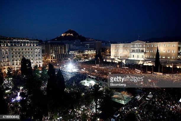 Protesters gather during an antiausterity demonstration in support of the Greek government in Syntagma Square in Athens Greece on Monday June 29 2015...
