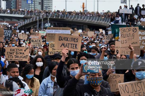 Protesters gather during an antiracism rally in solidarity with the protests in the US on June 3 2020 in Rotterdam Netherlands George Floyd an...