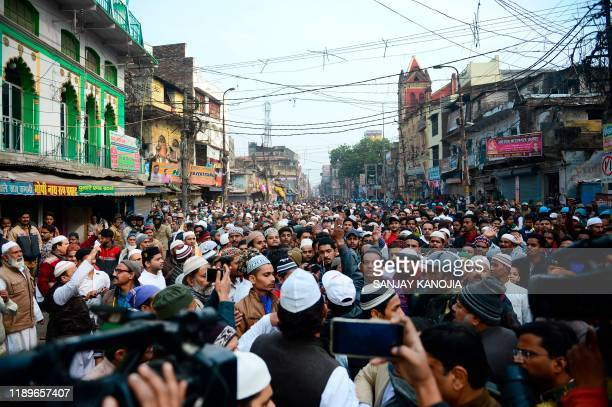 Protesters gather during demonstrations against India's new citizenship law in Allahabad on December 20 2019 Fresh clashes between Indian police and...