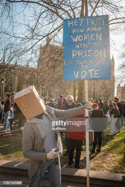 """Protesters gather in Bristol on 3rd April for the fifth """"Kill the Bill"""" protest to oppose the Police, Crime, Courts and Sentencing Bill..."""