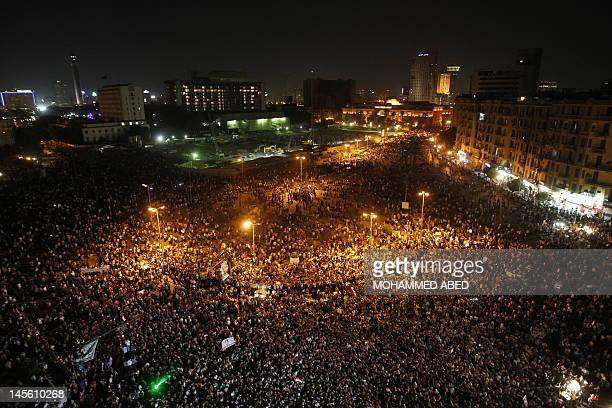 Protesters gather in Cairo's Tahrir square on June 2, 2012 after former President Hosni Mubarak and his security chief were given life in prison over...