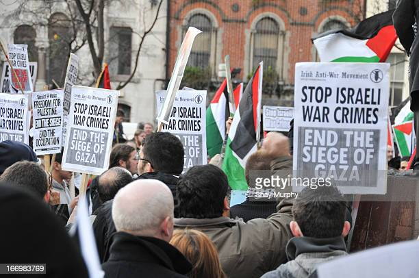 Protesters gather in Dublin calling for the end of the blockade of Gaza.
