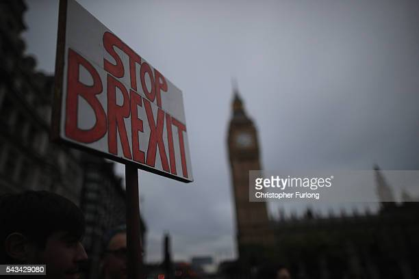 Protesters gather in front of the Houses of Parliament as they demonstrate against the EU referendum result on June 28 2016 in London England Up to...