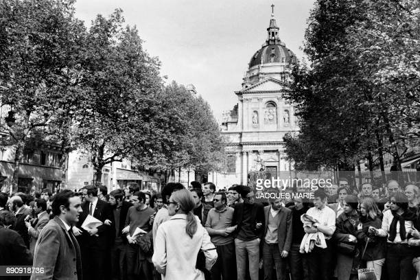 Protesters gather in front of the Sorbonne university on May 13 1968 in Paris Demonstrator march 13 May 1968 in Paris at the peak of the 1968...