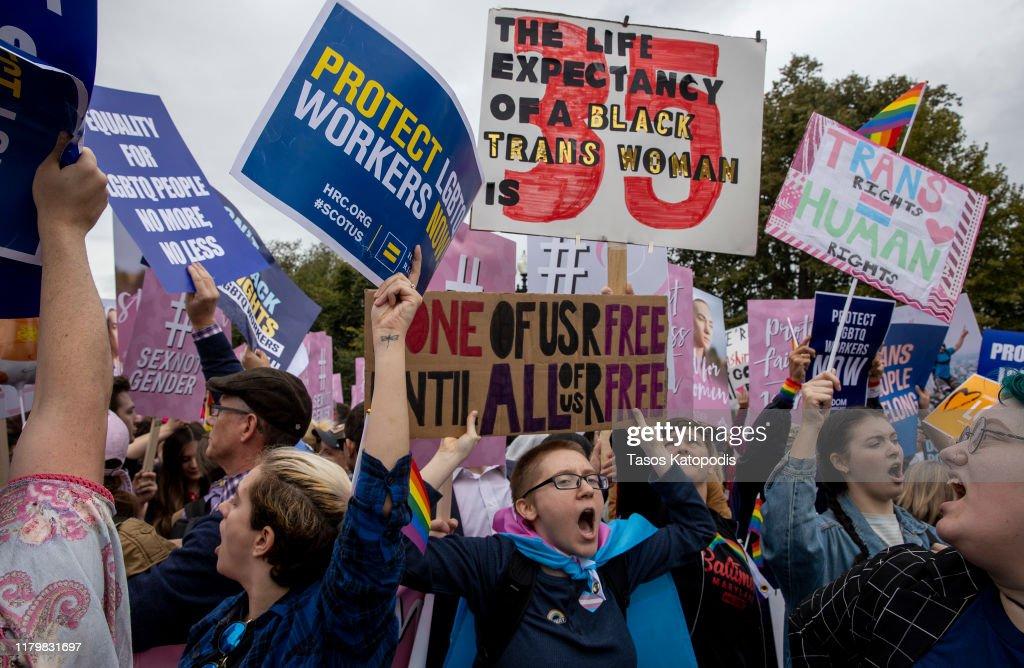 Supreme Court Hears Arguments On Gender Identity Workplace Discrimination : News Photo