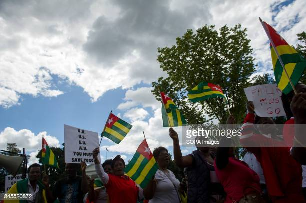 Protesters gather in front of the White House to protest against Togo's dictator Faure Gnassingbe They demand fairness and openness in the upcoming...