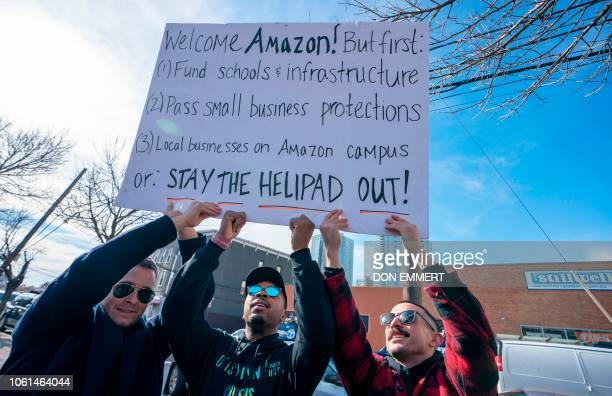 Protesters gather in Long Island City to say 'No' to the Amazon 'HQ2' decision on November 14 2018 in Long Island City New York It's exciting for...