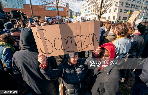 Protesters gather in Long Island City to say No to the Amazon HQ2 decision on November 14 2018 in Long Island City New York It's exciting for some...