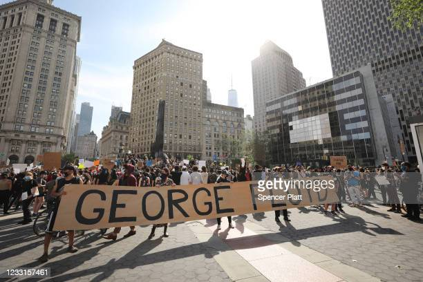 Protesters gather in Manhattan's Foley Square to protest the recent death of George Floyd an African American man who killed after a police officer...