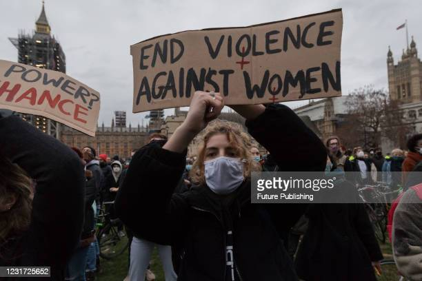 Protesters gather in Parliament Square to demonstrate against the Met Polices handling of a vigil held for Sarah Everard yesterday in Clapham Common...