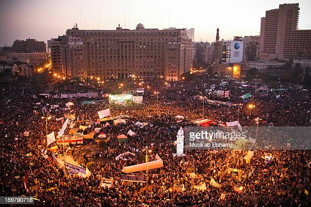 Protesters gather in Tahrir Square to commemorate the first anniversary of the revolution which took place on the 25th of January 2011 and led to...