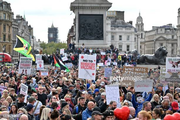 Protesters gather in Trafalgar Square in London on September 26 at a 'We Do Not Consent!' mass rally against vaccination and government restrictions...