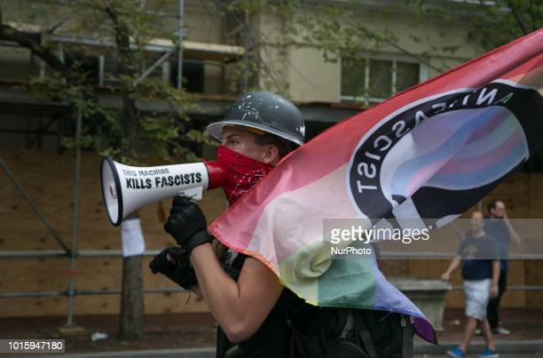Protesters gather in Washington DC for second Unite the Right rally on 12 August 2018 Thousands protested the second Unite the Right rally after a...