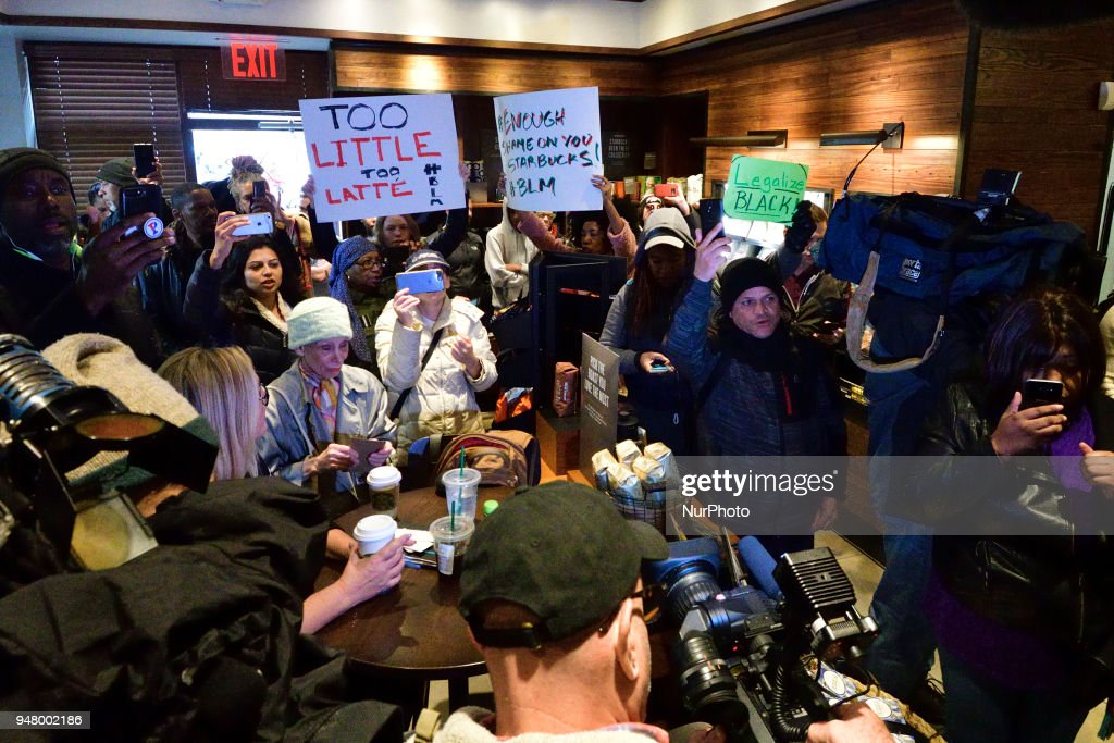anti racism protest at starbucks in philadelphia pa photos and