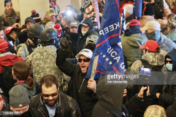 Protesters gather inside the U.S. Capitol Building on January 06, 2021 in Washington, DC. Congress held a joint session today to ratify...