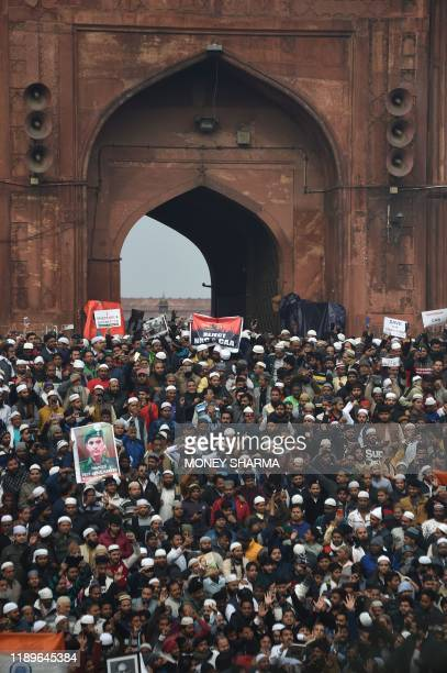 Protesters gather near the Jama Masjid mosque at a demonstration against Indias new citizenship law in New Delhi on December 20 2019 Fresh clashes...
