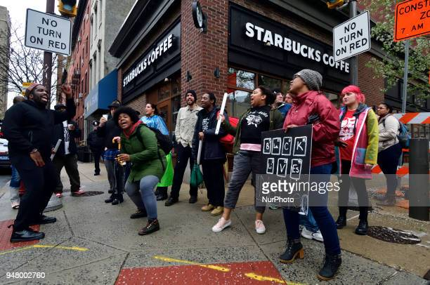 Protesters gather on April 16 2018 for ongoing protest at the Starbucks location in Center City Philadelphia PA where days earlier two black men were...