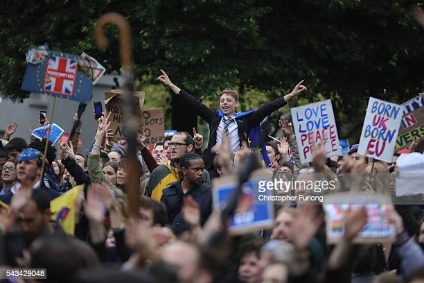 Protesters gather on College Green in front of the Houses of Parliament as they demonstrate against the EU referendum result on June 28 2016 in...