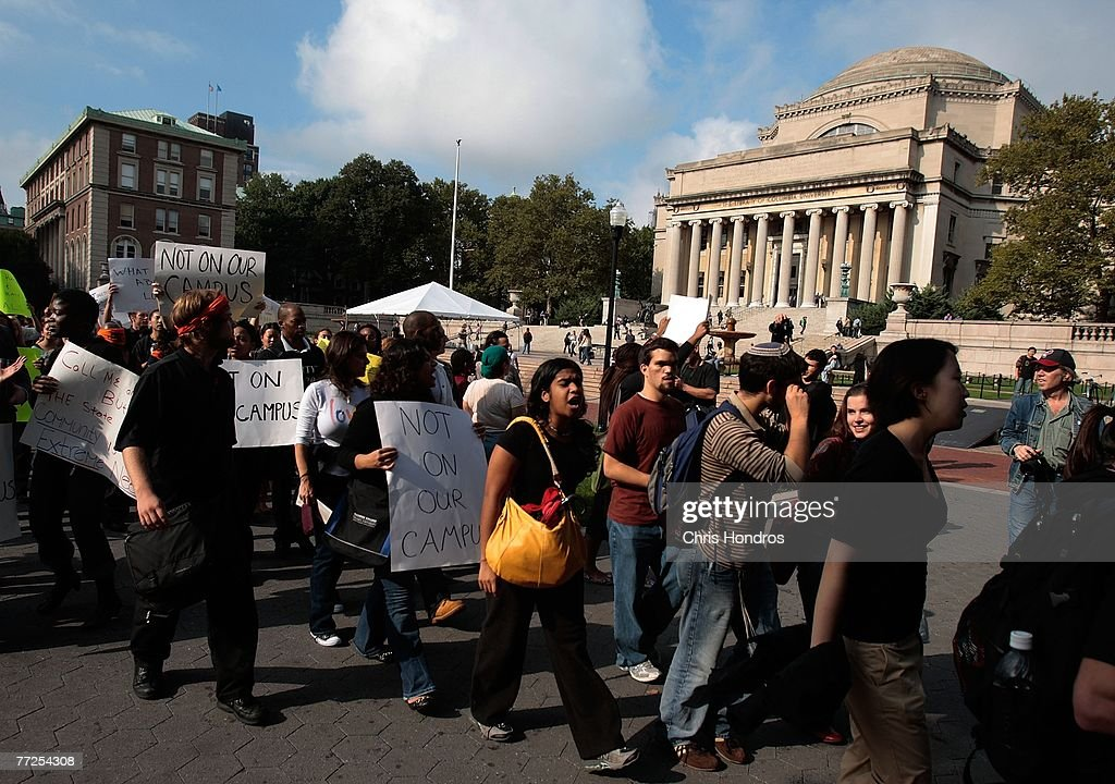 Protesters gather on Columbia University's main campus quad October 10, 2007 in New York. The rally was held to protest the discovery of a noose on the office door of an African-American professor.