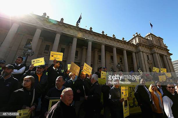 Protesters gather on September 10 2015 in Melbourne Australia Tram drivers are striking for over a pay dispute between drivers and employer Yarra...