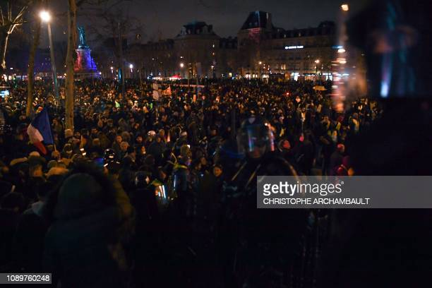 Protesters gather on the place de la Republique in Paris during an antigovernment demonstration called by the Yellow Vests Gilets Jaunes movement on...