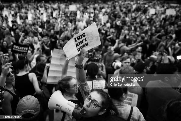 Protesters gather on the steps of the US Supreme Court after over running police barricades while demonstrating the confirmation of Associate Justice...