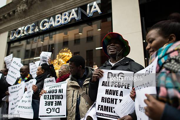 Protesters gather outside a branch of Italian fashion label Dolce and Gabbana in central London on March 19 to protest about comments made by the...
