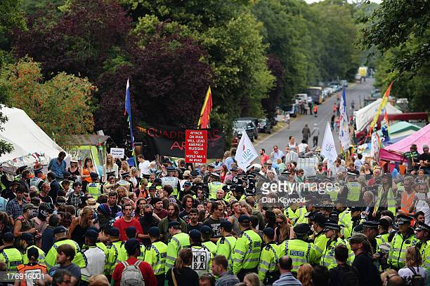 Protesters gather outside a drill site operated by Cuadrilla Resources Ltd on August 19 2013 in Balcombe West Sussex Protesters continue to gather...