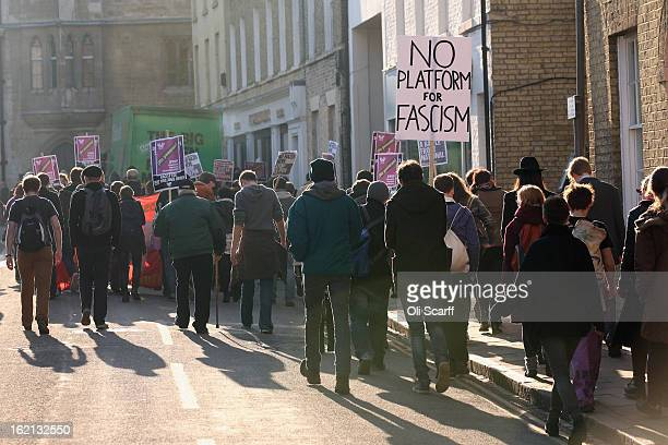 Protesters gather outside Cambridge University's Student Union as Marine Le Pen, the leader of the French far-right 'Front National' party, prepares...