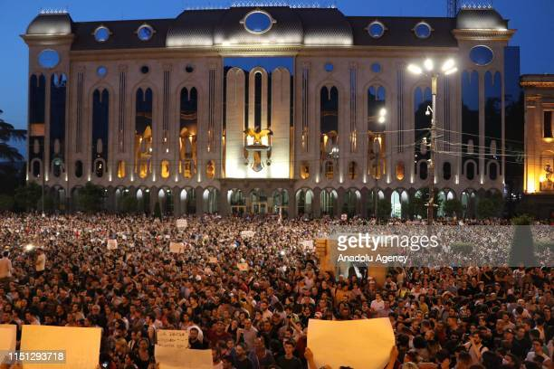 Protesters gather outside Georgias parliament to protest the visit of a Russian lawmaker to 26th General Session of the Inter-Parliamentary Orthodoxy...