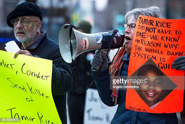Protesters gather outside of City Hall to protest the death of 12year old Tamir Rice in Cleveland Ohio on November 26 Rice was shot by a Cleveland...