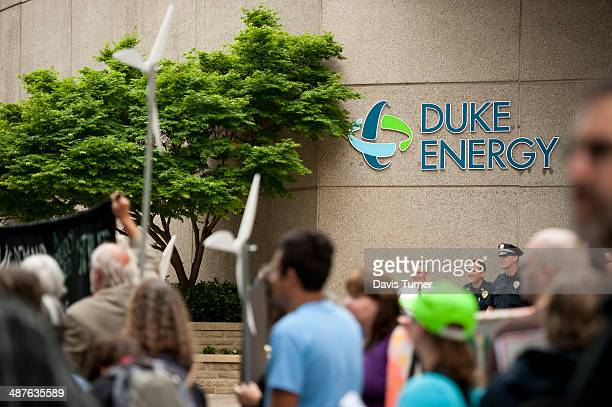 Protesters gather outside of Duke Energy's headquarters during Duke Energy's annual shareholder meeting on May 1 2014 in Charlotte North Carolina...