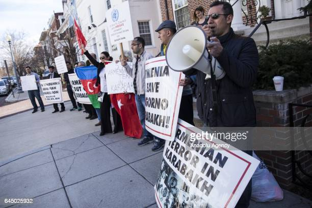 Protesters gather outside of the Embassy of Armenia to protest the Khojaly Massacre in Washington USA on February 24 2017 The massacre on February...