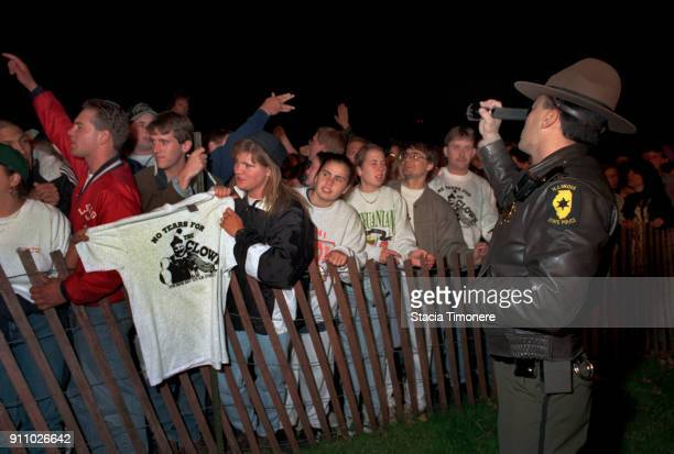 Protesters gather outside Stateville Prison on the evening of John Wyane Gacy's execution in Joliet Illinois United States on May 10 1994
