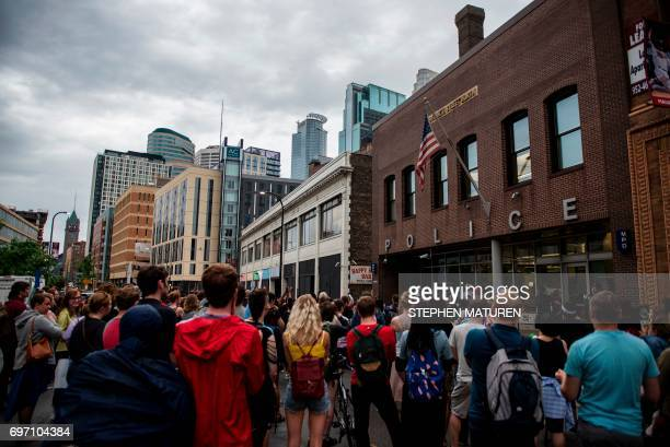 Protesters gather outside the 1st Precinct Police Department on July 17 2017 in Minneapolis Minnesota Demonstrations have taken place each day since...