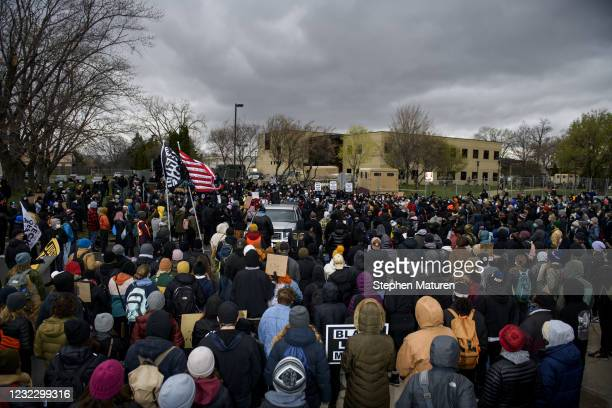 Protesters gather outside the Brooklyn Center police headquarters on April 13, 2021 in Brooklyn Center, Minnesota. Demonstrations have become a daily...
