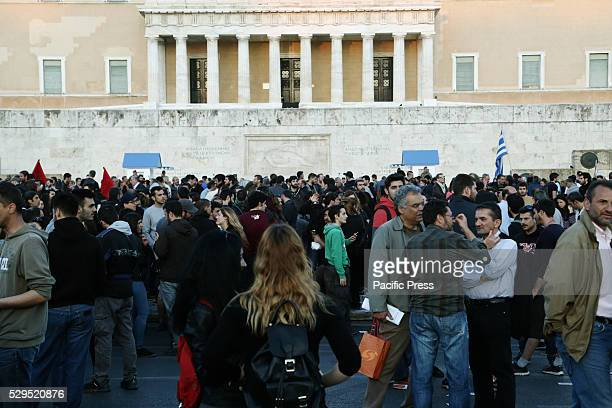Protesters gather outside the Greek parliament in central Thousands took part in rallies organized by Greece's largest trade unions of public and...