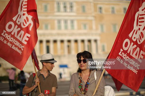 Protesters gather outside the Greek parliament to demonstrate against austerity after an agreement for a third bailout with eurozone leaders on July...
