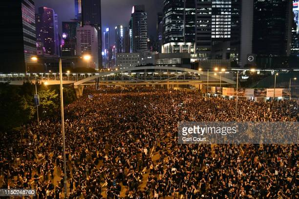 Protesters gather outside the Legislative Council building as they demonstrate against the nowsuspended extradition bill on June 16 2019 in Hong Kong...