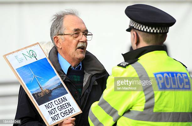 Protesters gather outside The Perth Concert hall prior to Scottish First Minister Alex Salmond's speech to the the SNP Annual Conference on October...