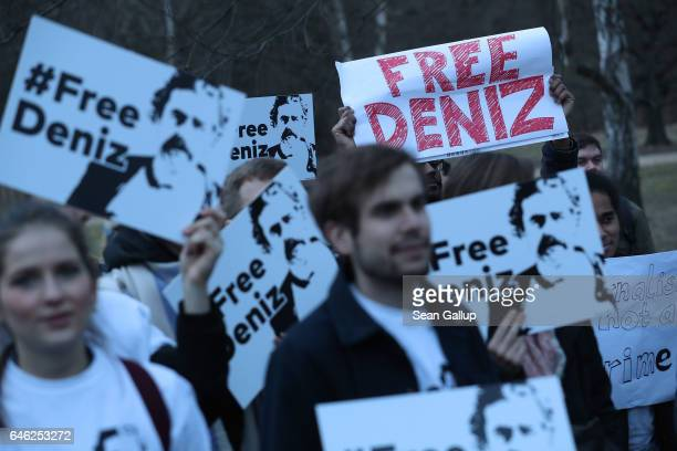 Protesters gather outside the Turkish Embassy to demand the release of German journalist Deniz Yucel on February 28 2017 in Berlin Germany Yucel who...