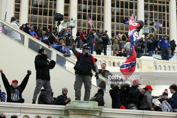Protesters gather outside the U.S. Capitol Building on January 06, 2021 in Washington, DC. Pro-Trump protesters entered the U.S. Capitol building...