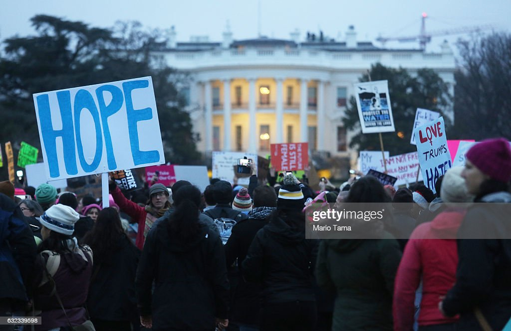 Protesters gather outside the White House at the finish of the Women's March on Washington on January 21, 2017 in Washington, DC. Large crowds attended the anti-Trump rally a day after U.S. President Donald Trump was sworn in as the 45th U.S. president.