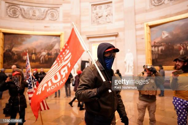 Protesters gather storm the Capitol and halt a joint session of the 117th Congress on Wednesday, Jan. 6, 2021 in Washington, DC.