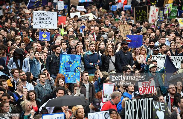Protesters gather to demonstrate against the EU referendum result outside the Houses of Parliament on June 28 2016 in London England Up to 50000...