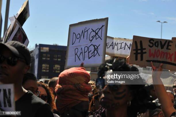 Protesters gather to handover a memorandum of grievances during genderbased violence demonstration outside Parliament following the rape and murder...