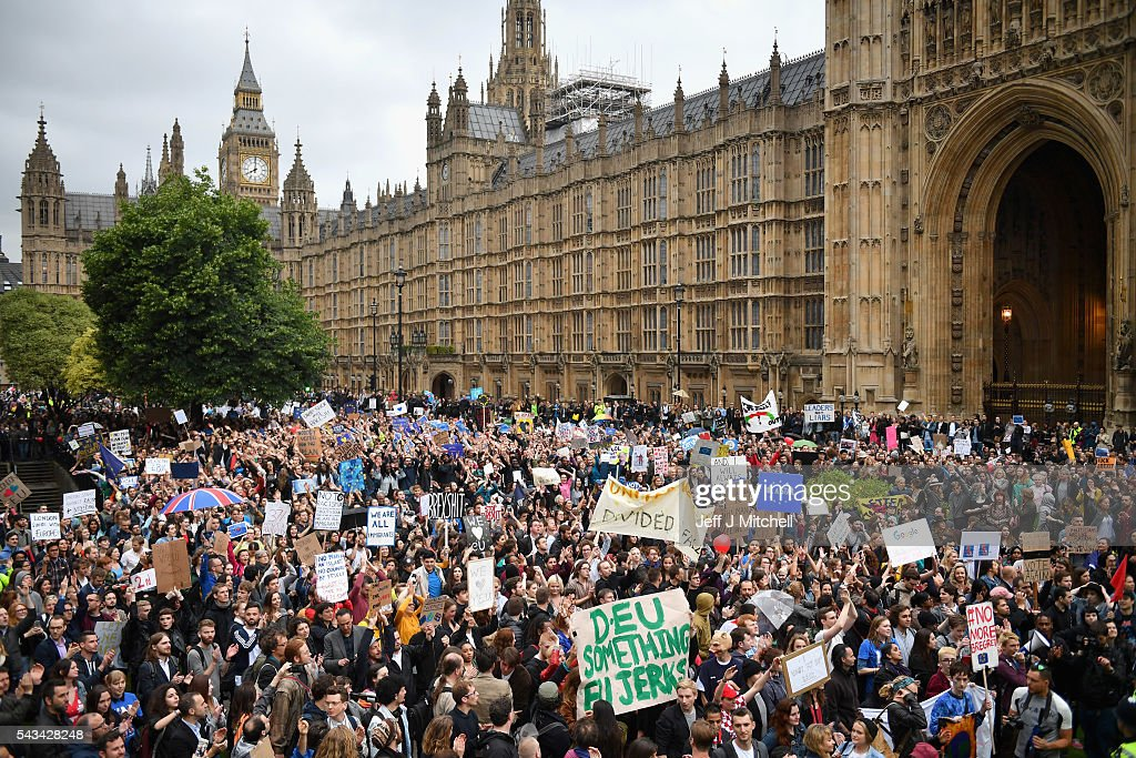 Protesters gather to protest against the EU referendum result putside the Houses of Parliament on June 28, 2016 in London, England. Up to 50,000 people were expected before the event was cancelled due to safety concerns. In the early evening a crowd still convereged on the square to vent their anti-Brexit feelings, before the protest moved to the Houses of Parliament.