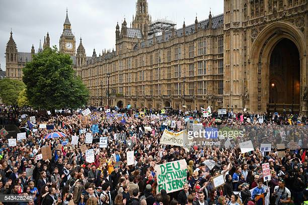 Protesters gather to protest against the EU referendum result putside the Houses of Parliament on June 28 2016 in London England Up to 50000 people...