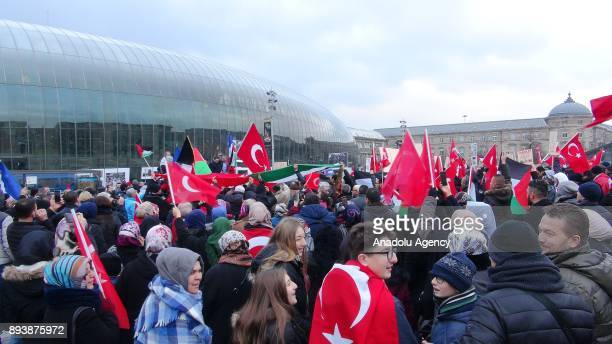 Protesters gather to stage a demonstration against US President Donald Trumps announcement to recognize Jerusalem as the capital of Israel and plans...